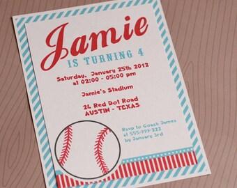 DIY PRINTABLE Invitation Card -  Sport Baseball Birthday Party Invitation - PS804CA1a1