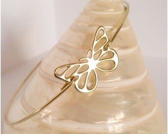 Gold butterfly bangle II - Butterfly bracelet - Minimalist jewelry - Everyday jewelry
