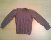Hand Knitted Brown Country Style Double Knit Childs Round Neck Jumper
