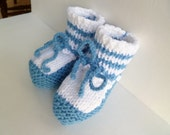 Baby Shower Booties White Blue Knitted Soft Handmade Boy 3-6 Months Ready to Ship