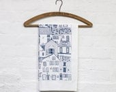 Coastal Cottages tea towel - kitchen textiles designed by Jessica Hogarth and printed in the UK - cotton design led tea towel