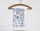 Coastal Cottages tea towel - stylish kitchen textiles. Kitchen dishcloth made from 100% cotton. Designed by Jessica Hogarth. UK manufactured