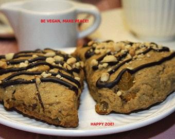 Vegan Coffee Raisin Peanut Scones, love, animal free cruelty,no eggs,no dairy, vegan suprise.