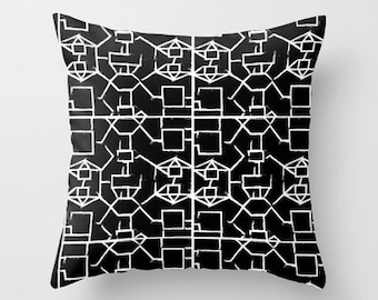 Pillow-Square Affair Black with filler 20x20