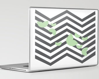 Laptop Skin- Leafy Chevron Grey (Can be personalized)