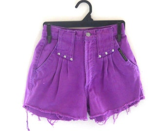 XS Shorts Size 0 Shorts High Waist Shorts Purple Shorts Denim Studded Shorts Cutoff Jean Shorts High Wasted Shorts Highwaisted Shorts Frayed