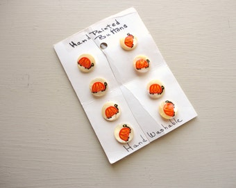 set of eight vintage hand painted turtles mother of pearl buttons on original card