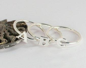 3 Initial Letter Stacking Rings, Sterling Silver, Made to Order