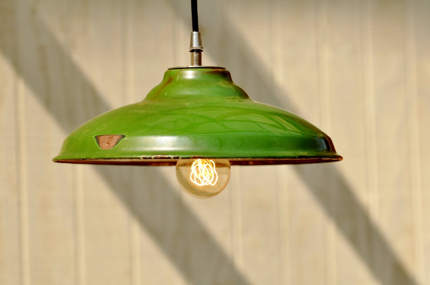 Hanging Industrial Light Vintage Upcycled Green Industrial