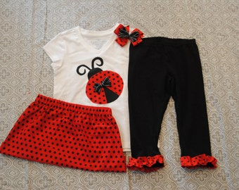 Birthday Ladybug Outfit Including Skirt, Leggings, Shirt, and Bow