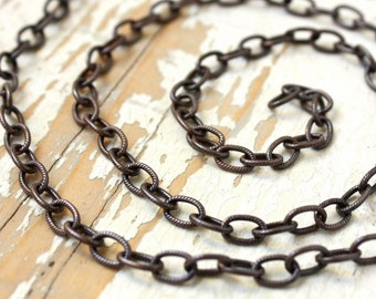 6ft Patina Copper Textured Chain, Elongated Oval Etched Cable 8mm x 6mm Antiqued Oxidized Pure Copper