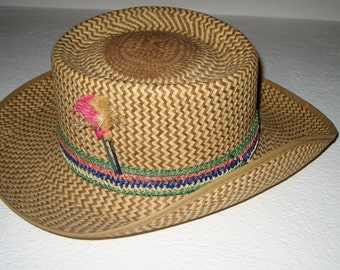 SALE 30.00 Vintage hand woven straw hat with band and garnish size small