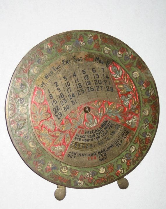 Perpetual Calendar Vintage : Perpetual vintage brass year calendar enamel on metal