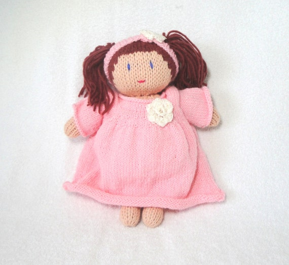 Soft Baby Doll, Hand Knit Doll, Red Pigtails Hair & Pink Dress/Diaper/Headband, Waldorf Toy