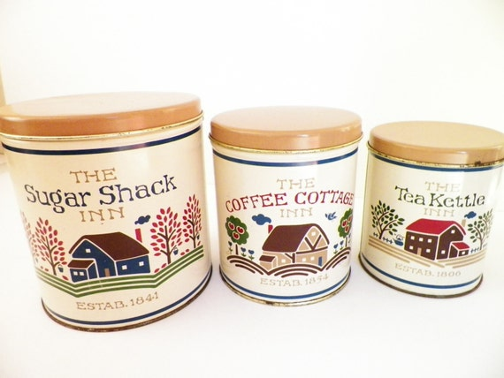 items similar to country kitchen canisters set of 3 on etsy