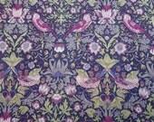 LIBERTY Of LONDON Tana Lawn Cotton Fabric  'Strawberry Thief' Magenta/Lavender/Sage