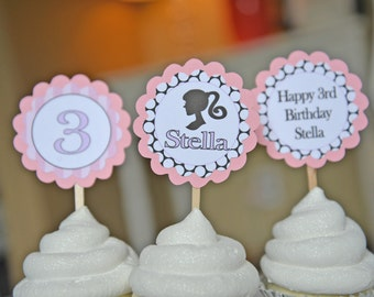 Little Girl Silhouette theme cupcake toppers-set of 12