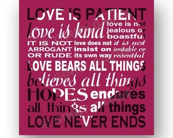 Love is Patient Love is Kind Corinthians Bible Verse 8x8 Square Inspirational Heart Print Design by Ginny Gaura