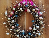 Spring Wreath-Easter Wreath-Front Door Wreath-PINK EGG Berry Door Wreath-Easter Decor-Spring Decor-Rustic Primitives Country Home Decor - DesigningCreations