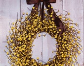 LARGE Spring Wreath-Spring Decor-Spring Summer Door Wreath-Summer Wreath-Front Door Wreath-HANDPAINTED Rustic YELLOW Berry Door Wreath