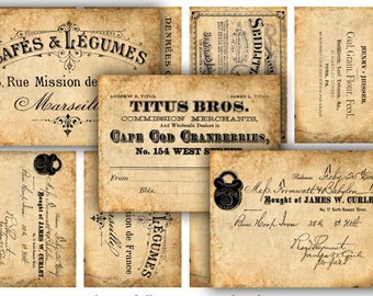 Digital Images - Digital Collage Sheet Download - Vintage Ephemera Labels -  618  - Digital Paper - Instant Download Printables