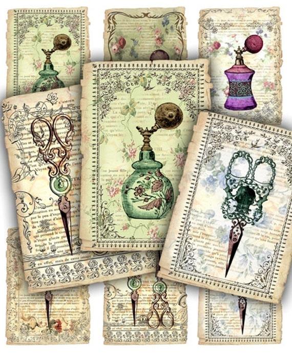 Digital Collage Sheet Download - Perfume & Scissors Tags -  277  - Digital Paper - Instant Download Printables