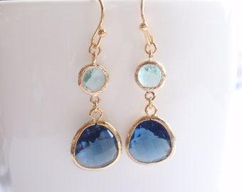 Montana Drop, Aqua Gold Frame Earrings-simple everyday jewelry- Bridesmaid,Wife, Girlfriend, Mothers Gift Idea