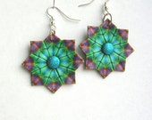 Origami Earrings -  Blue Green Origami Jewelry - First Anninversary Paper Jewelry