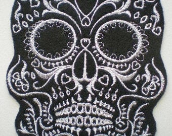 Embroidered Fancy Skull Patch, Applique. Day of the Dead, Gothic, Goth Patch, Black and White Sugar Skull, Iron On Patch