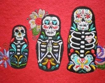 Embroidered Day of the Dead Nesting Dolls Applique Patch, Dia de los Muertos, Hispanic, Matryoshki, Matreshka