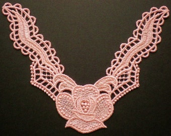 Beautiful Embroidered Neckline Lace, Wild Rose Lace Inset, Applique Lace In Peach, Lace Collar