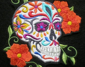 Embroidered Sugar Skull Iron on Patch, Applique, Day of the Dead, Gothic, Biker Patch