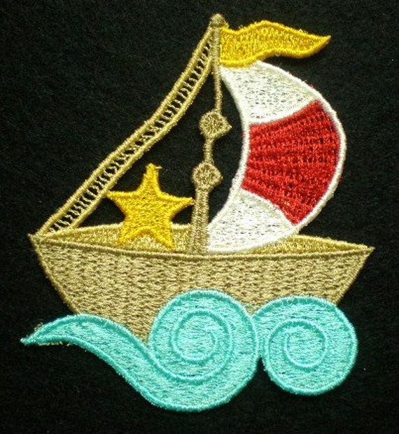 Embroidered Lace, Sailboat Appliques, Quilts, Crazy Quilts, Childrens clothing, Girls and Boys Decorations and Home Decor