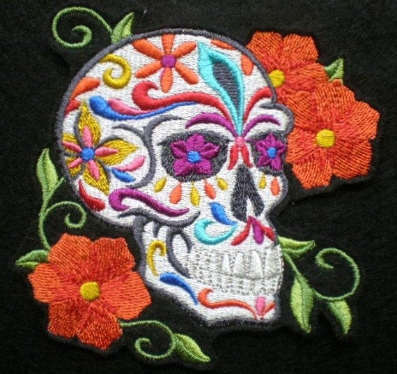 Embroidered Sugar Skull Iron on Patch Applique Day of the
