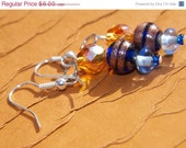 Blue and Gold 3 Bead Earrings