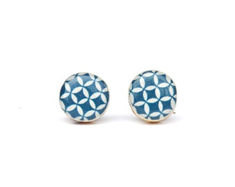 Blue geometric studs post earrings wood earrings modern jewelry eco fashion eco friendly unique gift for her