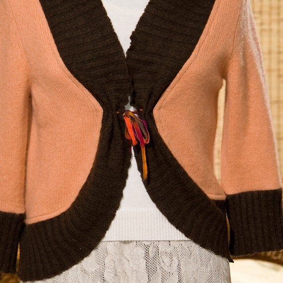 Cashmere Bolero in Apricot and Brown - Womens Size Medium One of a Kind Upcycled Sweater