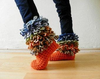 Crochet kids home slipper booties, home slippers, unisex, orange, green, blue, white, brown