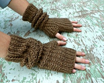 Knitting fingerless gloves camel, women accessories winter fall fashion, long gloves