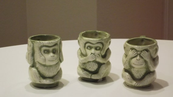 3 Wise Monkey Ceramic Cups Great Condition