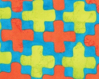 Summer Simple Marks by Malka Dubrawsky for Moda - Turquoise with Orange and Yellow Cross - Fat Quarter cotton quilt fabric 516