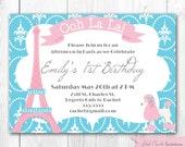 Paris Birthday Invitation. DIY Printable Paris Chic Birthday Party Invitation.