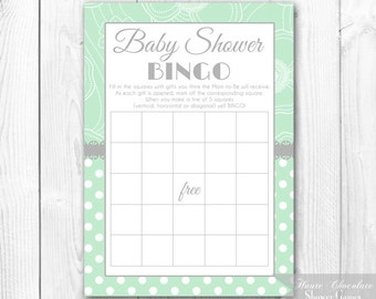 Printable Baby Shower Bingo - Shabby Chic Baby Shower Bingo Game Card. Mint & Gray. INSTANT DOWNLOAD.