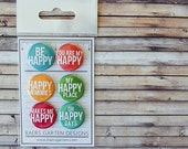 "Badges / Adhesive buttons ""Oh happy day"" - happy memories - makes me happy - scrapbooking - project life"