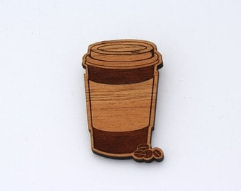 Wood laser cut brooch - takeaway coffee latte cup and coffee beans