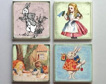 Vintage-Style Alice in Wonderland - Ceramic Tile 4-pc. Refrigerator Memo Magnet Set Magnets - Set No. 4