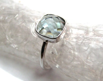 925 Sterling Silver lite Blue Quartz Ring , Fine Quality Chekker cut Faceted Cushion Shape stone Hand made Stackable Ring