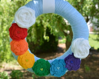 Summer Wreath, Rainbow Wreath, Summer Decor, Spring Wreath, Spring Decor, Girl's Room, Nursery Decor, Nursery Wreath, Rainbow Decor