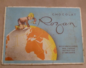 Vintage French Chocolate Cards in Album by Chocolat Rozan 50s / 60s