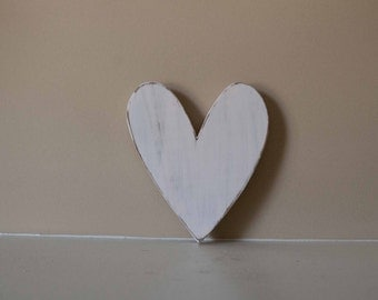 Wood Heart Shabby Chic Nursery Wedding Cottage Home Decor